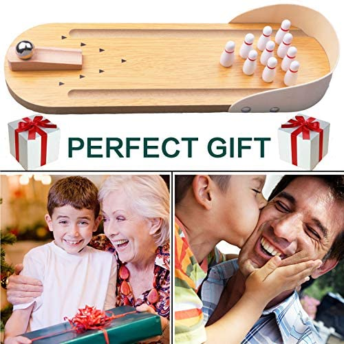 51Ir93qO6EL. AC  - Desktop Mini Bowling Game Set - Unique Novelty Office Desk Toys - Funny White Elephant Gag Gifts - Wooden Table Top Fun Family Board Games for Kids Adults Men - Finger Sports Cute Stocking Stuffers