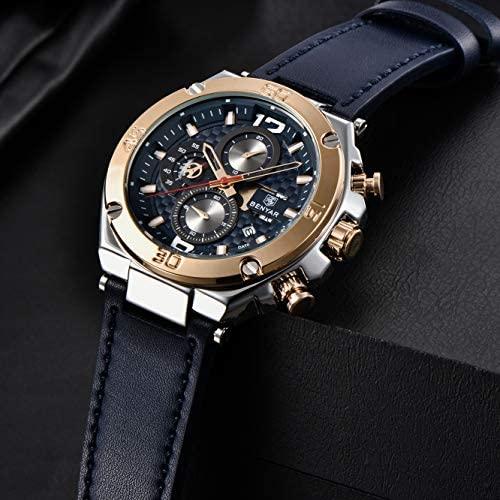 51KW6ehE+7L. AC  - BENYAR Men Watch Quartz Chronograph Date 3ATM Waterproof Watches Business Sport Design Leather Strap Wrist Watch for Men Father