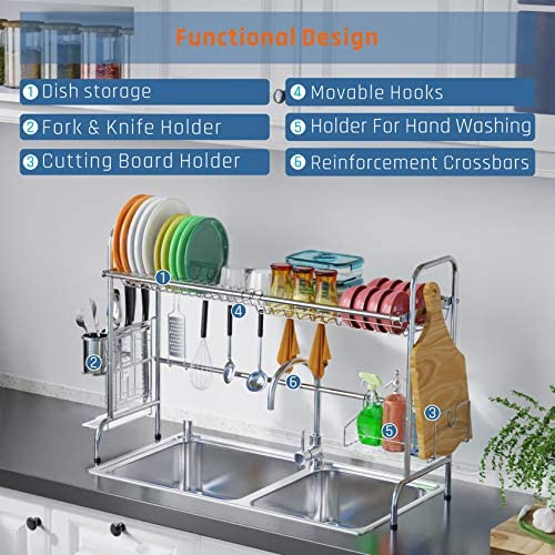 51LuVnWmQxL. AC  - Over Sink Dish Rack, GSlife Kitchen Over Sink Shelf Stainless Steel Over the Sink Drying Rack, Silver