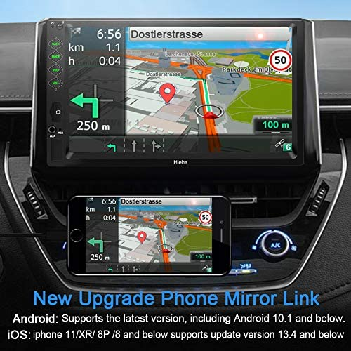 """51OPgk7c4eL. AC  - Hieha Double Din Car Stereo with Bluetooth, 7"""" HD Touch Screen Car Radio with Backup Camera, USB-to iOS Android Phone Mirror Link Supports GPS, Call Answering, FM, Music, Video Upgrade"""