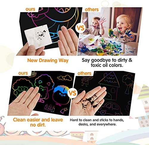 51Q5G5wazFL. AC  - Riarmo Scratch Art Paper Set for Kids, 107 Pcs Rainbow Magic Scratch Off Paper Art Craft for Boys & Girls, Fun Imagination Trigger Game for Children's Summer Vacation, Birthday, and Party Gift