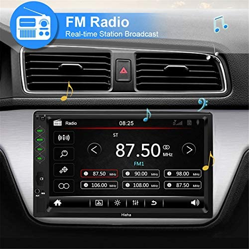 """51Q8MJFN0WL. AC  - Hieha Double Din Car Stereo with Bluetooth, 7"""" HD Touch Screen Car Radio with Backup Camera, USB-to iOS Android Phone Mirror Link Supports GPS, Call Answering, FM, Music, Video Upgrade"""