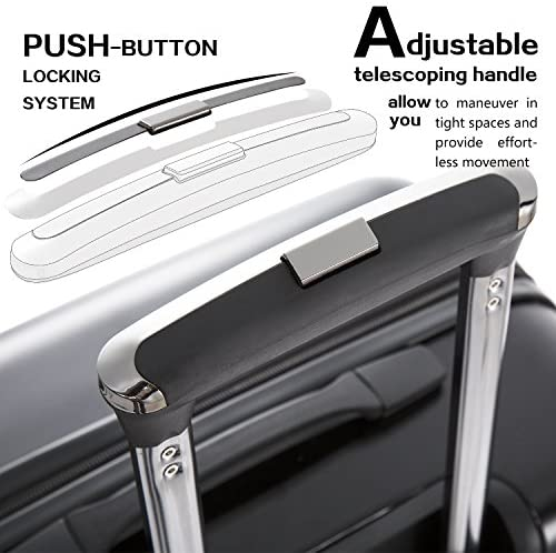"""51RpnZ2ZicL. AC  - Coolife Luggage Expandable(only 28"""") Suitcase PC+ABS Spinner Built-In TSA lock 20in 24in 28in Carry on"""