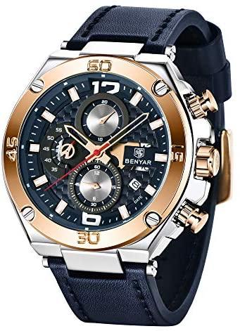 51UZTtvUULL. AC  - BENYAR Men Watch Quartz Chronograph Date 3ATM Waterproof Watches Business Sport Design Leather Strap Wrist Watch for Men Father