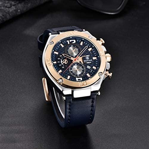 51WakY6nOfL. AC  - BENYAR Men Watch Quartz Chronograph Date 3ATM Waterproof Watches Business Sport Design Leather Strap Wrist Watch for Men Father