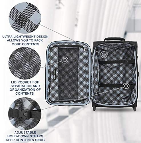51WfUVJMvzL. AC  - Travelpro Maxlite 5-Softside Lightweight Expandable Upright Luggage, Black, Carry-On 22-Inch