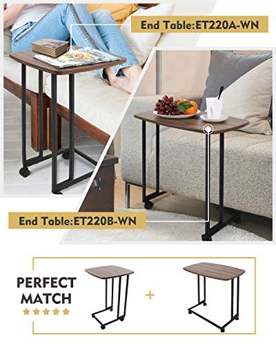 51aXkyw9EEL. AC  - Modern Side Table, Moncot Mobile C Shaped End Table with Detachable Casters, Wood Top Walnut Rectangle TV Trays, Couch Table for Living Room, Bed Room and Home Office, ET220B-WN