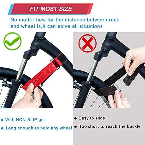 "51bqBHHU0jL. AC  - Ubenic 4 Pcs Adjustable Bike Rack Strap 29.5"" Bike Wheel Strap with Buckle Gel, Bike Storage Strap for Bicycle Wheel, Bike Wheel Stabilizer Replacement, Bicycle Straps for Rack"