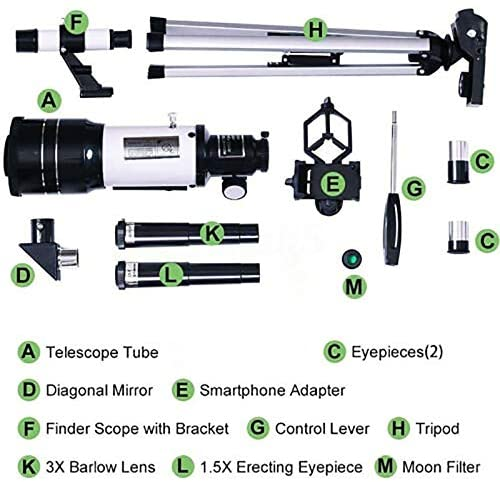51c gykW3sL. AC  - Telescope for Kids &Adults &Beginners,70mm Aperture 300mm AZ Mount, Fully Multi-Coated Optics, Portable Astronomy Refractor Telescope with an Adjustable Tripod, A Phone Adapter