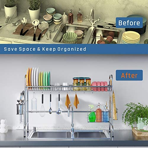 51cYS4a 8+L. AC  - Over Sink Dish Rack, GSlife Kitchen Over Sink Shelf Stainless Steel Over the Sink Drying Rack, Silver