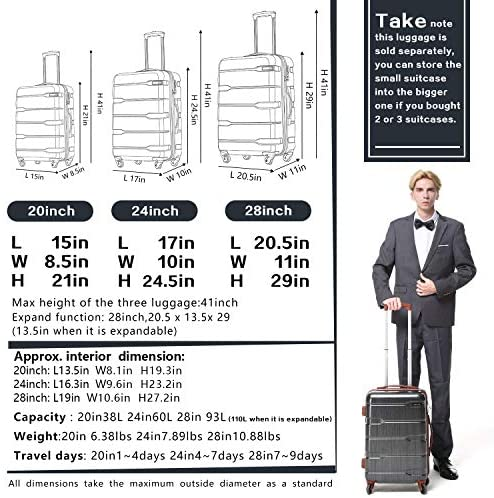 """51dAySHEG4L. AC  - Coolife Luggage Expandable(only 28"""") Suitcase PC+ABS Spinner Built-In TSA lock 20in 24in 28in Carry on"""