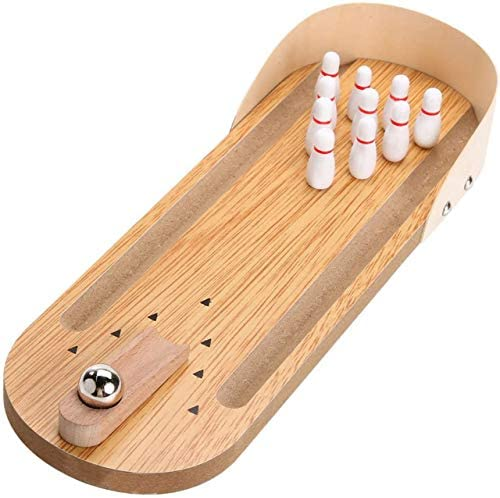 51fLULUvr8L. AC  - Desktop Mini Bowling Game Set - Unique Novelty Office Desk Toys - Funny White Elephant Gag Gifts - Wooden Table Top Fun Family Board Games for Kids Adults Men - Finger Sports Cute Stocking Stuffers