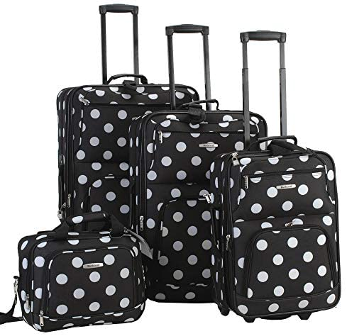 51fk30G6PrL. AC  - Rockland Polka Softside Upright Luggage Set, Black Dot, 4-Piece (14/19/24/28)