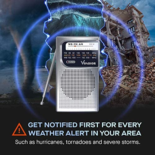 51gg6ppouTL. AC  - NOAA Weather Radio - Emergency NOAA/AM/FM Battery Operated Portable Radio with Best Reception and Longest Lasting Transistor. Powered by 2 AA Battery with Mono Headphone Socket, by Vondior (Silver)