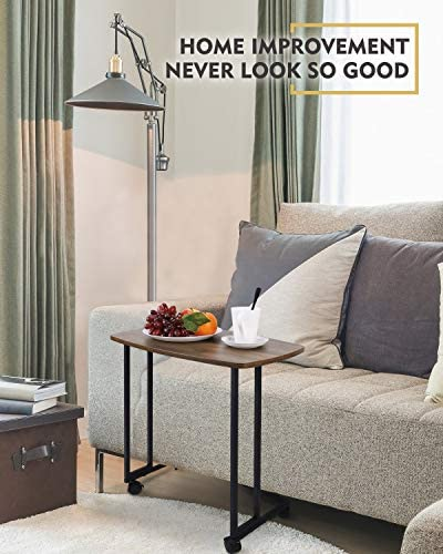 51gieCNU7qL. AC  - Modern Side Table, Moncot Mobile C Shaped End Table with Detachable Casters, Wood Top Walnut Rectangle TV Trays, Couch Table for Living Room, Bed Room and Home Office, ET220B-WN