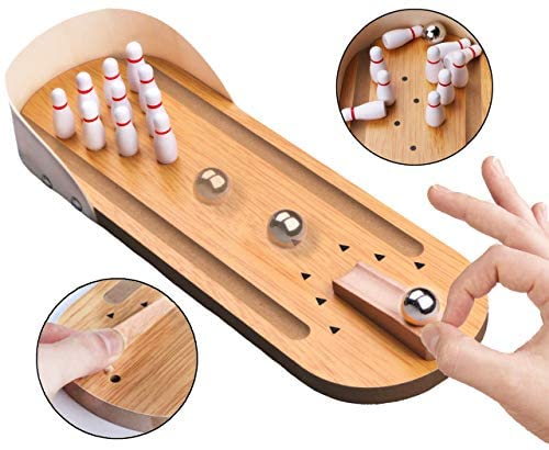 51hNbzwK uL. AC  - Desktop Mini Bowling Game Set - Unique Novelty Office Desk Toys - Funny White Elephant Gag Gifts - Wooden Table Top Fun Family Board Games for Kids Adults Men - Finger Sports Cute Stocking Stuffers