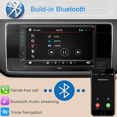 """51l4zFcoAcL. AC  - Hieha Double Din Car Stereo with Bluetooth, 7"""" HD Touch Screen Car Radio with Backup Camera, USB-to iOS Android Phone Mirror Link Supports GPS, Call Answering, FM, Music, Video Upgrade"""