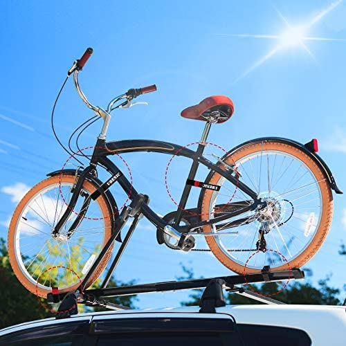 "51lDk6OAYwL. AC  - Ubenic 4 Pcs Adjustable Bike Rack Strap 29.5"" Bike Wheel Strap with Buckle Gel, Bike Storage Strap for Bicycle Wheel, Bike Wheel Stabilizer Replacement, Bicycle Straps for Rack"