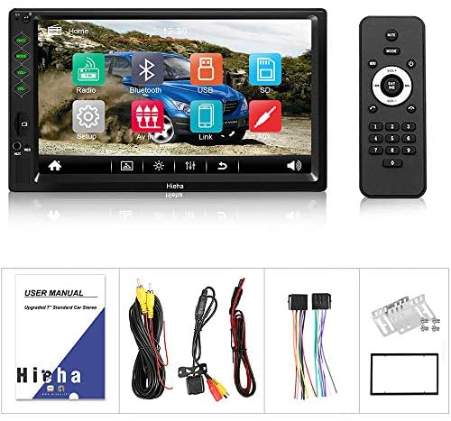 """51ljJMZugLL. AC  - Hieha Double Din Car Stereo with Bluetooth, 7"""" HD Touch Screen Car Radio with Backup Camera, USB-to iOS Android Phone Mirror Link Supports GPS, Call Answering, FM, Music, Video Upgrade"""