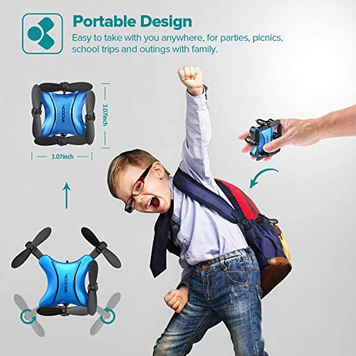 51pxNtXeUEL. AC  - DROCON Foldable Mini Drone for Kids or Adults, Best Gift Portable Pocket Quadcopter with Altitude Hold 3D Flips and Headless Mode Easy to Fly, Small Durable RC Helicopter for Beginners