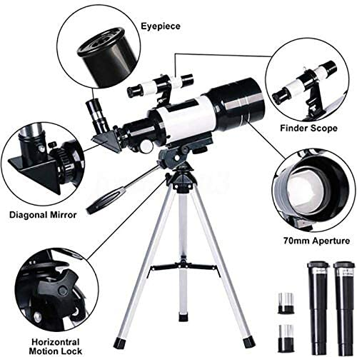 51yAFw3iFwL. AC  - Telescope for Kids &Adults &Beginners,70mm Aperture 300mm AZ Mount, Fully Multi-Coated Optics, Portable Astronomy Refractor Telescope with an Adjustable Tripod, A Phone Adapter
