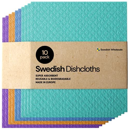 6150NK8j7qS. AC  - Swedish Dishcloth Cellulose Sponge Cloths - Bulk 10 Pack of Eco-Friendly No Odor Reusable Cleaning Cloths for Kitchen - Absorbent Dish Cloth Hand Towel (10 Dishcloths - Assorted)