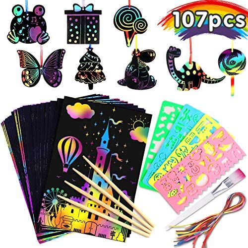 61Jez5TVKrL. AC  - Riarmo Scratch Art Paper Set for Kids, 107 Pcs Rainbow Magic Scratch Off Paper Art Craft for Boys & Girls, Fun Imagination Trigger Game for Children's Summer Vacation, Birthday, and Party Gift