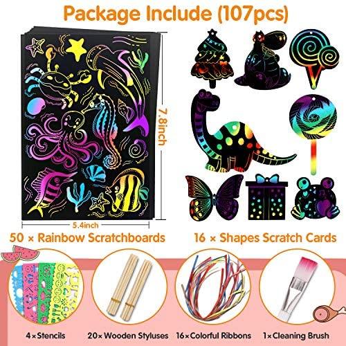 61OMXdVwMSL. AC  - Riarmo Scratch Art Paper Set for Kids, 107 Pcs Rainbow Magic Scratch Off Paper Art Craft for Boys & Girls, Fun Imagination Trigger Game for Children's Summer Vacation, Birthday, and Party Gift