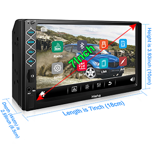 """64626b8e 6ad6 44fd 83f8 13098dd9861e.  CR0,0,300,300 PT0 SX300 V1    - Hieha Double Din Car Stereo with Bluetooth, 7"""" HD Touch Screen Car Radio with Backup Camera, USB-to iOS Android Phone Mirror Link Supports GPS, Call Answering, FM, Music, Video Upgrade"""