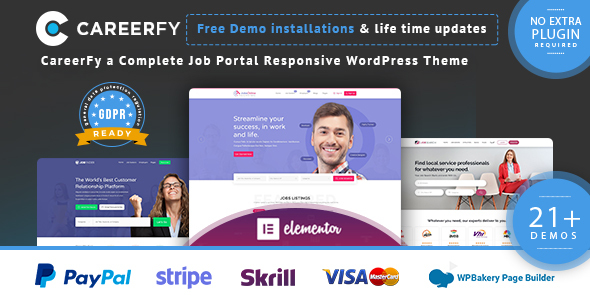 Themepreview.  large preview - Careerfy - Job Board WordPress Theme