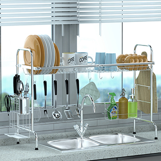 a8d42b6d b255 447d 9336 896c954f686a.  CR0,0,315,315 PT0 SX315 V1    - Over Sink Dish Rack, GSlife Kitchen Over Sink Shelf Stainless Steel Over the Sink Drying Rack, Silver