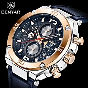 c62fc2f2 b8c9 41b5 8b6f fd4b0f537b6b.  CR0,0,2000,2000 PT0 SX300 V1    - BENYAR Men Watch Quartz Chronograph Date 3ATM Waterproof Watches Business Sport Design Leather Strap Wrist Watch for Men Father