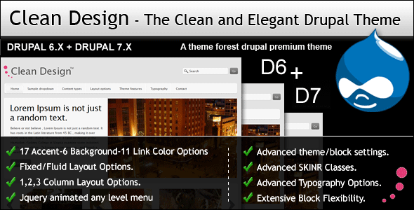 clean design.  main.  large preview - Clean Design - The Clean and Elegant Drupal Theme