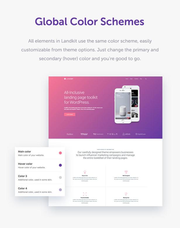 color schemes - Landkit - WordPress Landing Page Theme