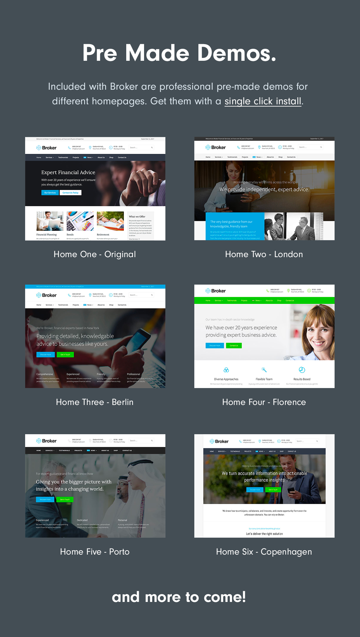 demos - Broker - Business and Finance WordPress Theme