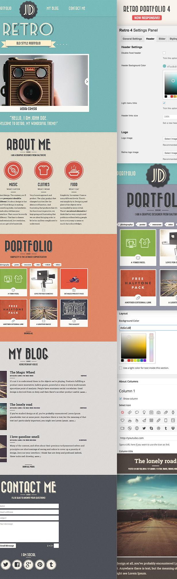 detailed retro - Retro Portfolio - One Page Vintage WordPress Theme