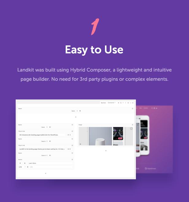 easy to use - Landkit - WordPress Landing Page Theme