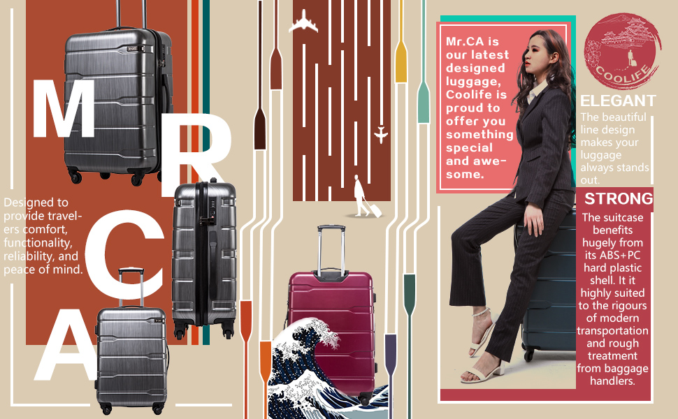 """ef06ef06 bdac 4eb1 af8c e0c6ca367641. CR0,0,970,600 PT0 SX970   - Coolife Luggage Expandable(only 28"""") Suitcase PC+ABS Spinner Built-In TSA lock 20in 24in 28in Carry on"""