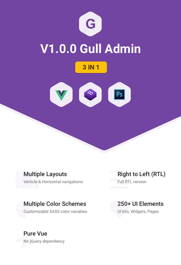 gull vue 3 in 1 - Gull -  HTML & Vuejs Admin Dashboard Template