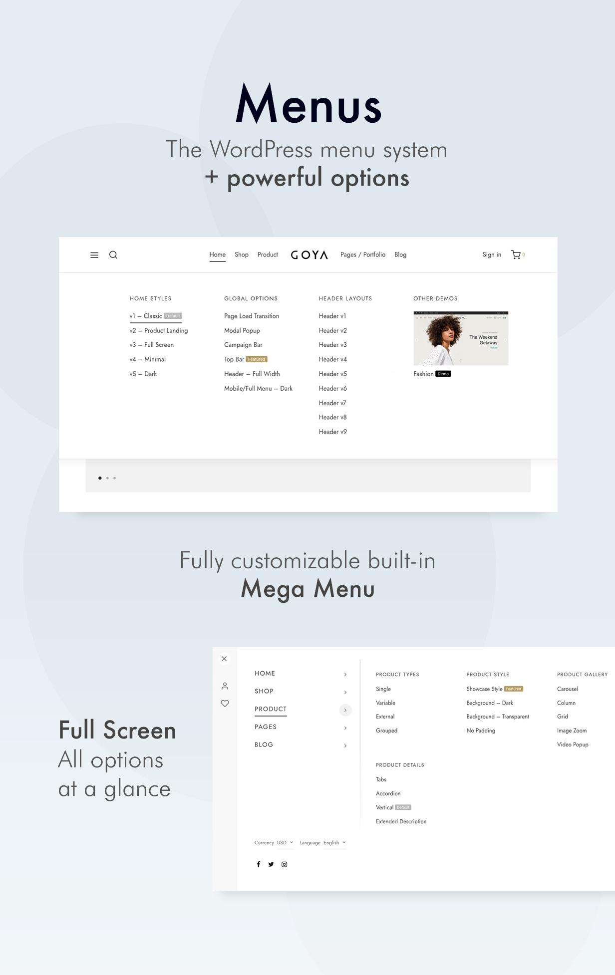 menus - Goya - Modern WooCommerce Theme