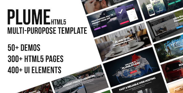 plume preview.  large preview - PLUME HTML5 Multi-Purpose Template