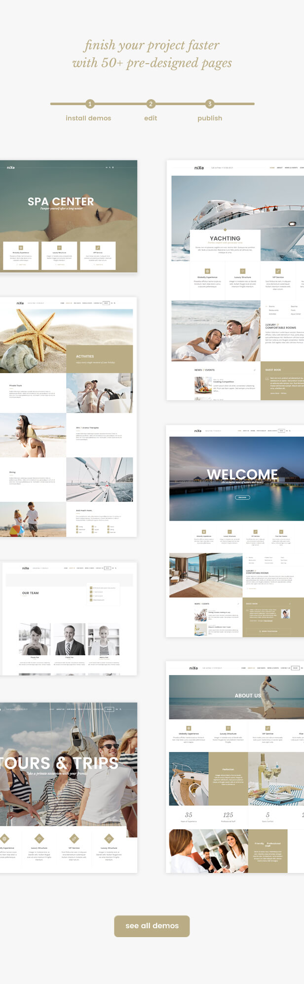 pre designed pages - Nixe | Hotel, Travel and Holiday WordPress Theme