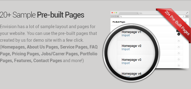 prebuilt pages - Envision - Responsive Retina Multi-Purpose Theme