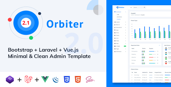 preview image 01.  large preview - Orbiter - Bootstrap + Laravel + Vue Minimal & Clean Admin Template