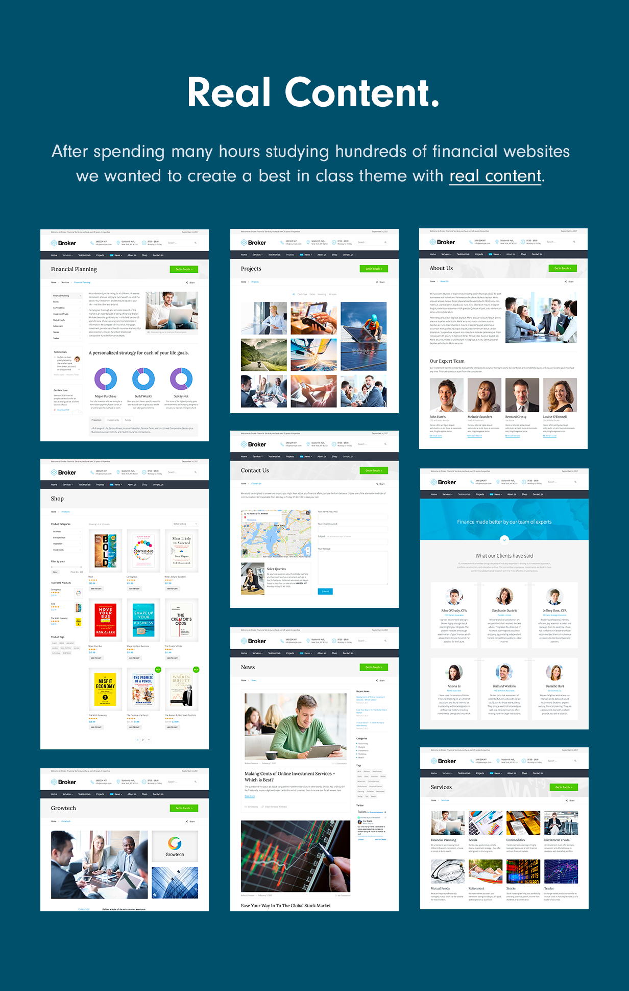 real content - Broker - Business and Finance WordPress Theme
