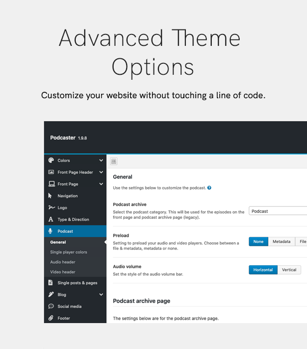 sales page 11 theme options 2 - Podcaster - Multimedia WordPress Theme