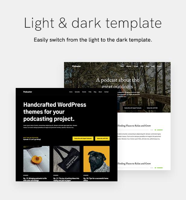 sales page 12 lightdark 2 - Podcaster - Multimedia WordPress Theme