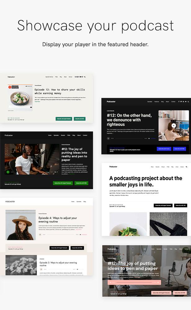 sales page 6 showcase 2 - Podcaster - Multimedia WordPress Theme