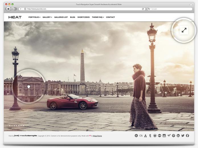 screenshot whitesmoke slider heat - Heat - Responsive Photography WordPress Theme