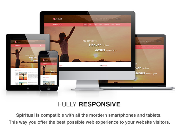 spiritual theme feature responsive - Spiritual - Church WordPress Theme (Responsive)